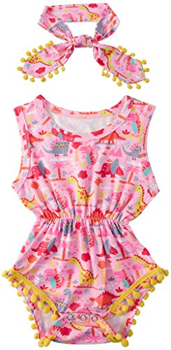 Baby Girls Rompers Cute Dinosuar Jumpsuits Yellow Pompom Playsuits Pink Floral Animal Printed Baby Onesie with Bow-Knot Headband 3-6 Months