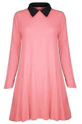 Uni Pure Dcontract Robe Longue Bureau Robe Longue Col vas Soire Fashion Haut Corail Femme Manche 8aq418rx
