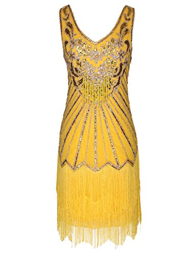 Women's Flapper Dress 1920s V Neck Beaded Fringed Great Gatsby Dress (Yellow, XL) -