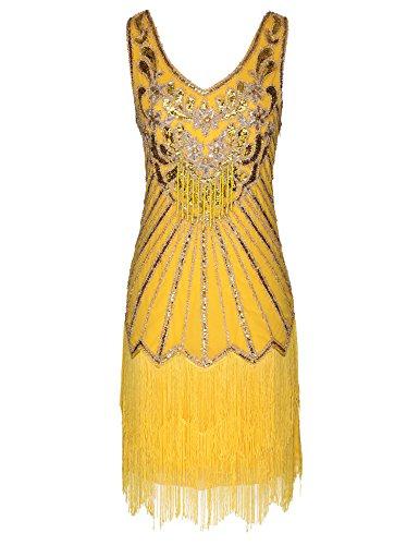 Women's Flapper Dress 1920s V Neck Beaded Fringed Great Gatsby Dress (Yellow, -