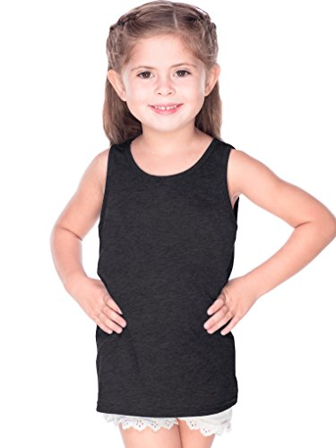 Kavio! Toddlers Sheer Jersey Scoop Neck Tank Ht.Charcoal 4T ()