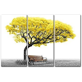 Amazon.com: Canvas Wall Art Paintings For Home Decor Yellow Tree ...