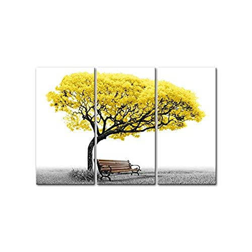 Canvas Wall Art Paintings For Home Decor Yellow Tree Park Bench In Black  And White 3 Pieces Panel Modern Giclee Framed Artwork The Pictures For  Living Room ...