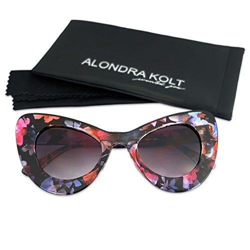 Alondra Kolt The Fireworks Cat Eye Sunglasses (Flora Printed / Deep Blue - Printed Sunglasses Lens