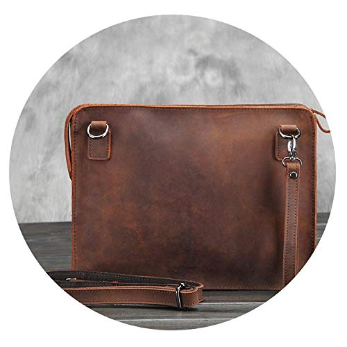 Crazy Horse Genuine Leather Retro Briefcase Bags Men Vintage Luxury Envelope Laptop Messenger Bag New,Brown