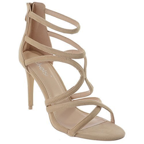 Miss Image UK New Ladies Womens High Stiletto Heel Gladiator Caged Cut Out Strappy Sandals Shoes Size Beige Faux Suede mrnO6KcydQ