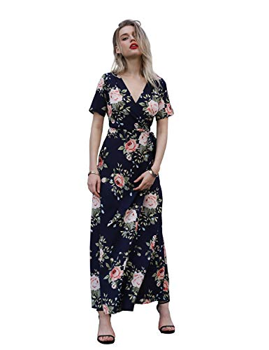 Floral Chiffon Wrap (Blooming Jelly Casual Short Sleeve V Neck Floral Tie Waist Wrap Long Maxi Dress with Belt(Blue,XL))
