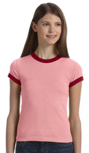 Bella Girls 4.2 oz. Heather Jersey Short-Sleeve Ringer T-Shirt - HEATHER BLUE/NAVY - (Heather Blue Ringer)