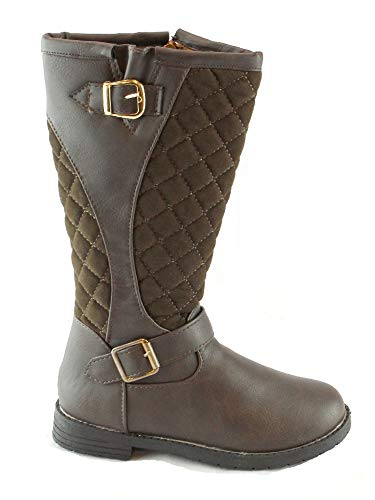 (Bambi Girls Brown Buckle Side Zipper Quilted Boots 10 Kids)