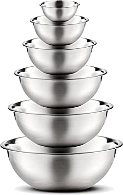 Stainless Steel Mixing Bowls by Finedine (Set of 6) Polished Mirror Finish Nesting Bowls, ¾ - 1.5 - 3 - 4 - 5 - 8 Quart - Cooking Supplies