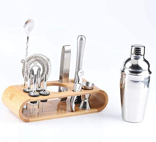 HEREB Cocktail-Shaker, Barzubehör, 12-teiliges Cocktail-Shaker-Set aus Edelstahl mit Bambus-Ständer