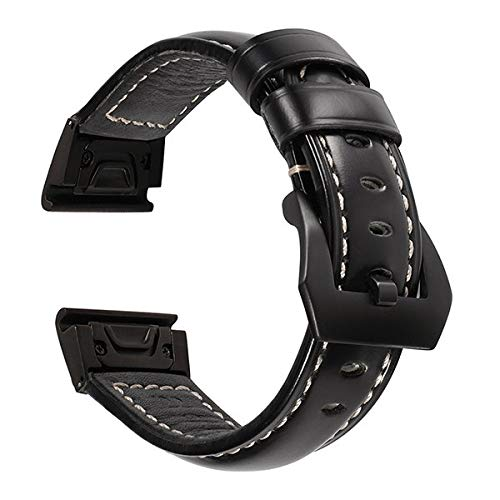 Jewh Quick Easy Fit Genuine Leather Watchband for Garmin Fenix 5X/5X Plus/3