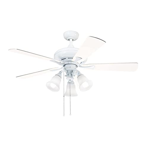 Aztec lighting kichler lighting transitional white 52 inch ceiling fan with 3 light kit and