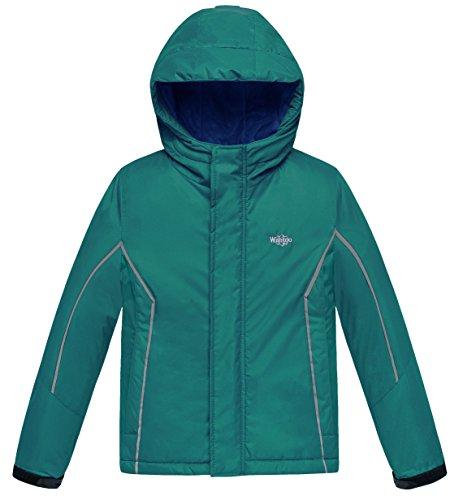Wantdo Boy's Windproof Skiing Jacket Fleece Lined Hoodies Short Parka Rainwear(Blackish Green, 4/5) Cotton Lined Parka