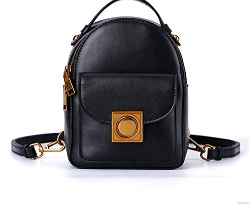 Backpack female fashion all-match color retro Mini Backpack,Black tuba by KYXXLD