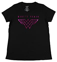 Dc Comics Wonder Woman Pink Foil Graphic Women S Plus Size Black T Shirt 00