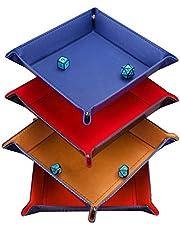 Magiin 4 Pack Dobbelstenen lade PU lederen opvouwbare vierkante houder, rollende lade houder opbergdoos voor tafelspelen, dobbelspellen zoals DND D & D