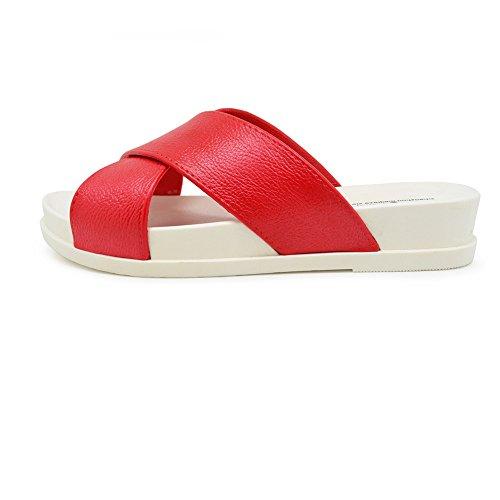 Sandales À Imprimé Léopard Pour Femmes Tongs À L'intérieur Et À L'extérieur Tongs Anti-Dérapant Chaussons De Plage,Red,39