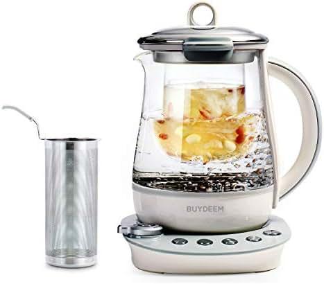 Buydeem K2683 Health-Care Beverage Tea Maker and Kettle, 9-in-1 Programmable Brew Cooker Master, 1.5 L, Gray