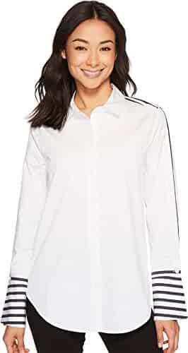 Equipment Women's Surrender Strip Yarn Dye Cotton Popplin Rossi Shirt