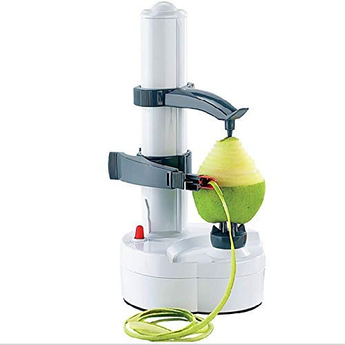 Electric Peeler, Potato Peeler Auto Rotating Apple Vegetable Fruit Peeler Potato Peeling Machine Automatic Stainless Steel Peeler (White)