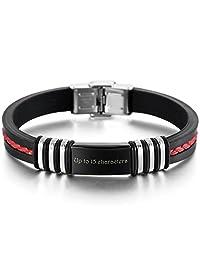 MeMeDIY Red Black Stainless Steel Rubber Bracelet Polished - Customized Engraving