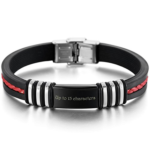 MeMeDIY Red Black Stainless Steel Rubber Bracelet Polished - Customized Engraving