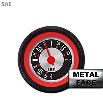 Assembled Turbo Gauge - American Retro Rodder ~ Red Ring Face, Red Modern Needle sbc