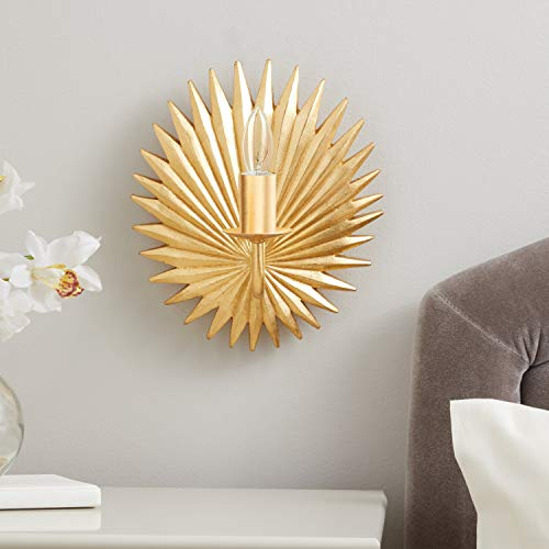 Safavieh SCN4002A-SET2 Lighting Collection Abelie Wall Sconce, Gold Leaf