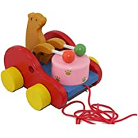 """Kalaplanet Pulling Drum - Wooden Pull Along Toy, Kids Creative Educational Toy Bear Drum Solid Wood Pull Toys for Children with 37.4"""" Long String"""