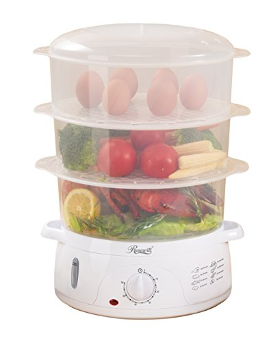 Rosewill Electric Food Steamer 9.5 Quart, Vegetable Steamer with BPA Free 3 Tier Stackable Baskets, Egg Holders, Rice Bowl, - Electric Steam Cooker
