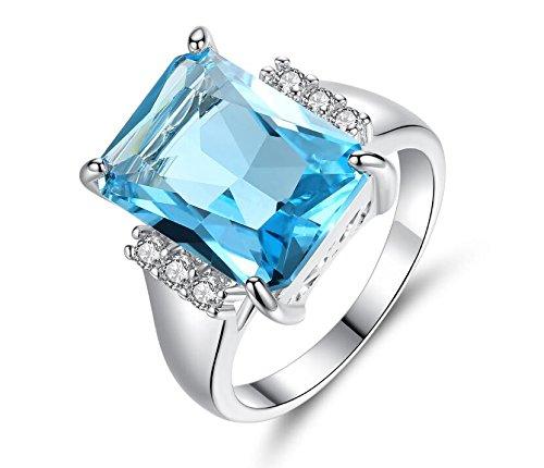 Square Aquamarine 3 Stone Ring - TEMEGO Large Emerald Cut CZ Aquamarine Ring,14k White Gold Blue Topaz Square Stone Ring,Size 7