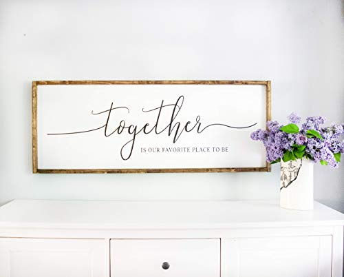 Bedroom Signs Framed White Together is Our Favorite Place to be Sign Master Bedroom Wall Decor Above Bed Signs, Rustic Farmhouse Wall Decor