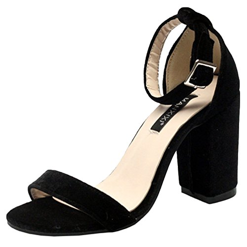 D2C Beauty Womens Open Toe Low Chunky High Heel Ankle Strap Sandals Black l2jBd4qC