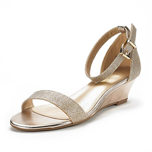 (DREAM PAIRS Women's Ingrid Gold Plaid Ankle Strap Low Wedge Sandals Size 8 M US)
