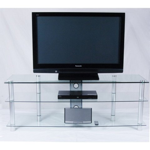 Tier One Designs Clear Glass and Aluminum TV Stand with Wire management, 60''