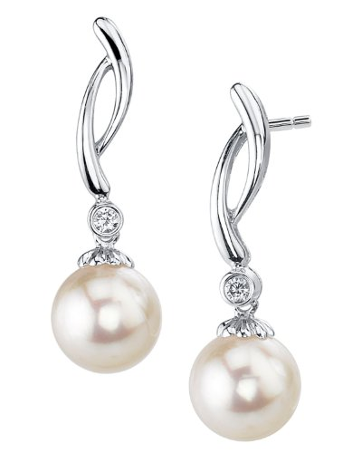 14K Gold 7.5-8.0mm White Akoya Cultured Pearl & Diamond Madison Earrings by The Pearl Source