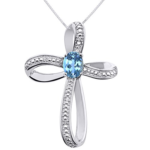 - Diamond & Blue Topaz Cross Pendant Necklace Set In Sterling Silver .925 with 18