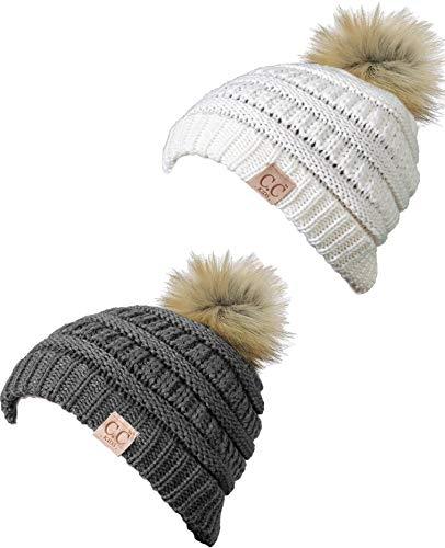 H-6847-2-432125 Kids Pom Beanie Bundle - Faux Fur Pom - Grey & Ivory