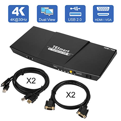 TESmart Dual-Monitor-KVM-Switch-2 Port (2 HDMI Ports and 2 VGA Ports) Updated 4K@30Hz KVM Switch HDMI with Remote Microphone and L/R Output kvm Switch with 2 PCS KVM Cables and VGA Cable