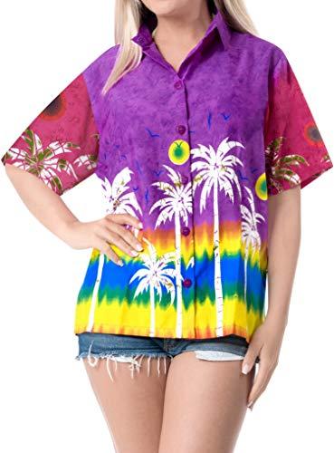 LA LEELA Womens Hawaiian Regular Fit Short Sleeve Tunic Blouse Shirt 3D Printed