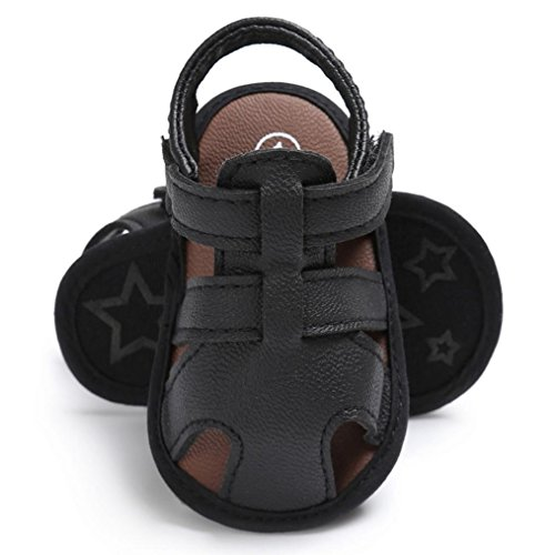 Amiley Summer Spring Baby Toddler Hook & Loop Boys Cute Crib Shoes T-tied Soft Prewalker Soft Sole Anti-Slip Newborn Shoes Sandals (Inches:4.7Age:6~12 Month, Black)