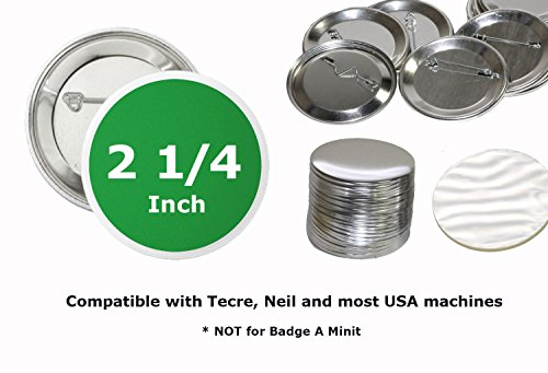 100 Pk - 2.25 inch Diameter Pin Buttons Sets for Badge Making Metal Parts 2 1/4