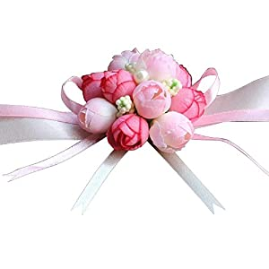 Girl Bridesmaid Wedding Wrist Corsage 10 pcs Wrist Flowers Bouquet Decorative for Prom Party Wedding Homecoming 11