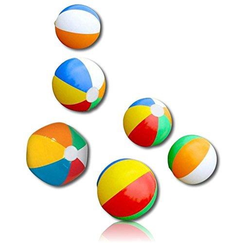 "Custom Beach Ball (ULTRA Durable & Custom {9"" Inch} 6 Pack of Small-Size Inflatable Beach Balls for Summer Fun, Made of Lightweight FLEX-Resin Plastic w/ Bright Classic Retro Umbrella Striped Rainbow Style {Multicolor})"