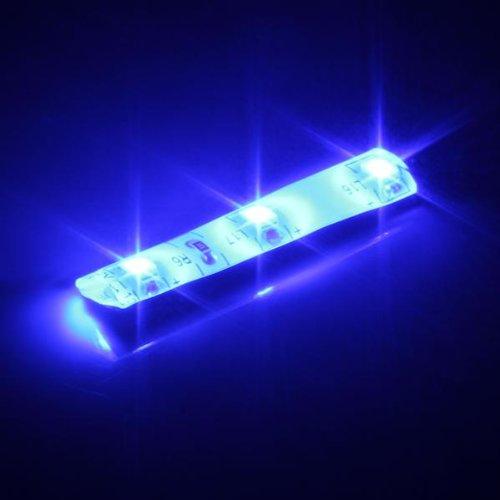 Ecloud Shop 2X Tira 3 3528 LED Impermeable Luz Azul 4.4*0.8CM Coche YIF80