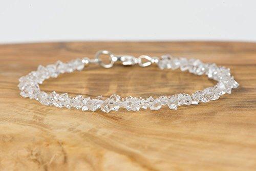 - Double Terminated Crystal Clear Quartz Bracelet, Herkimer Type Diamond Quartz Bracelet, Gift for Her