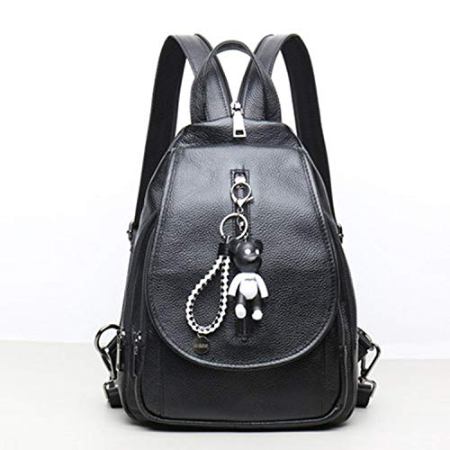 Shuangjian The Version Portable Fashion Women's Backpack Soft Leather Bag Of Ladies Female Korean New Black gqgrwT8