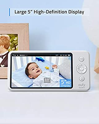 "Baby Monitor, eufy Security SpaceView Video Baby Monitor, Pioneering Generation, 5"" HD LCD Display, 110° Wide-Angle Lens Included, Up to 460 Ft Range, Night Vision, 2-Way Audio, Day-Long Battery"