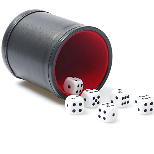 RERIVER Felt Lined Pu Leather Dice Cup Set with 6 Dot Dices (Black, Pack of 1) ()